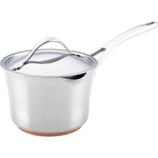 Anolon Nouvelle Copper Stainless Steel 3.5 Qt. Covered Straining Saucepan