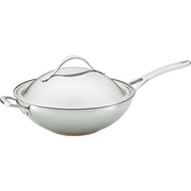 Anolon Nouvelle Copper Stainless Steel 12 In. Covered Stir Fry with Helper Handle