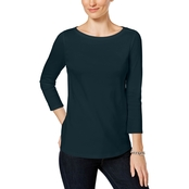 Charter Club Petite Button-Shoulder Top