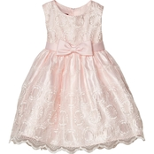 Princess Faith Toddler Girls Embroidered Dress with Illusion Neckline