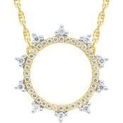 10K Yellow Gold Diamond 1/5CTW Crown Circle Necklace