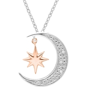 14K Rose Gold Plated Sterling Silver Diamond Accent Moon and Star Pendant