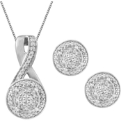 Sterling Silver and 1/10 CTW Diamond Earrings and Pendant 2 Pc. Set, 18 In.