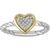 Sterling Silver and 14K Yellow Gold Plating 1/10 CTW Heart Diamond Ring, Size 7