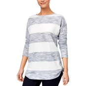 Style & Co Striped Space Dyed Top