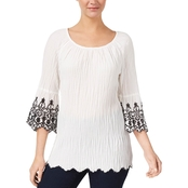 Style & Co. Off the Shoulder Embroidered Top