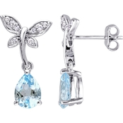 Laura Ashley Sterling Silver 2 3/4 CTW Blue Topaz and White Sapphire Earrings