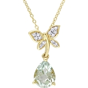 Laura Ashley Yellow Gold Over Sterling Silver 2 1/6 CTW Multi Stone Necklace