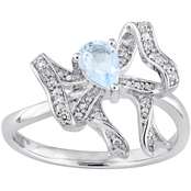 Laura Ashley Sterling Silver 1/2 CTW Blue Topaz and Diamond Accent Ribbon Ring