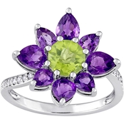 Laura Ashley Sterling Silver Peridot and Amethyst Diamond Accent Flower Ring