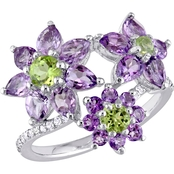 Laura Ashley Sterling Silver Rose de France Amethyst Peridot White Sapphire Ring