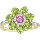Laura Ashley Yellow Gold Over Sterling Silver Pink Sapphire Multi Stone Flower Ring