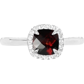 Sterling Silver 925 Cushion Garnet Halo Ring
