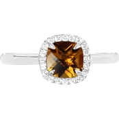 Sterling Silver 925 Cushion Citrine Halo Ring