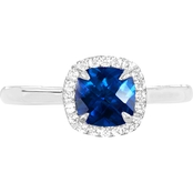 Sterling Silver 925 Cushion Created Blue Sapphire Halo Ring