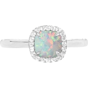 Sterling Silver Created Opal and Created White Sapphire Halo Ring