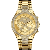 Guess Women's Goldtone Glitzy Sport Dress Watch U0628L2