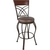 CorLiving Jericho Metal Bar Height Stool with Rustic Brown Bonded Leather Seat