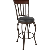 CorLiving Jericho Metal Bar Height Stool with Glossy Dark Brown Bonded Leather Seat