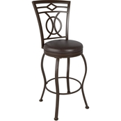 CorLiving Jericho Metal Bar Height Stool with Dark Brown Bonded Leather Seat