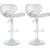 CorLiving Curved Form Fitting Adjustable Bar Stool in Leatherette 2 Pk.