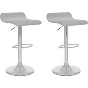 CorLiving Curved Adjustable Bar Stool in Leatherette 2 Pk.