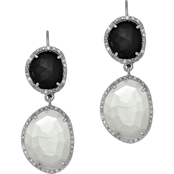 Phillip Gavriel Sterling Silver 1/7 CTW Diamond, Black Onyx and Moonstone Earrings