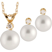 14K Gold Pearl Set with Freshwater Pearl and Diamond, 17 In.