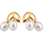 14K Yellow Gold 3.5-4mm Freshwater Pearl Double Leaf Top Earrings
