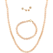 14K Pink Pearl 3 Pc. Set, 14 In.
