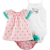 Carter's Infant Girls 3 Pc. Watermelon Bodysuit, Tee and Diaper Cover Set
