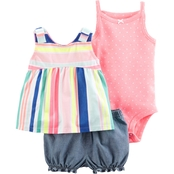 Carter's Infant Girls 3 Pc. Bodysuit, Top and Diaper Cover Set