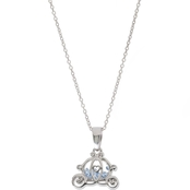 Disney Rhodium Over Sterling Silver Cinderella Crystal Carriage Shaker Pendant
