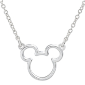 Disney Sterling Silver Silhouette Mickey Head 18 in. Necklace