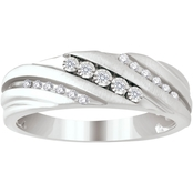 Expressions of Love 10K White Gold 1/7 CTW Diamond Slant Band, Size 10.5