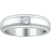 10K White Gold Diamond Accent Classic Solitaire Wedding Band, Size 10.5