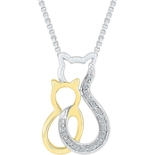 Sterling Silver and 10K Yellow Gold Accent Fashion Pendant, 18 In.