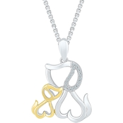Sterling Silver And 10K Yellow Gold 1/20 CTW Fashion Pendant, 18 In.