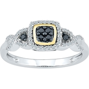 Sterling Silver and 10K Yellow Gold 1/4 CTW Black Diamond Fashion Ring