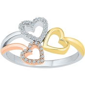 Sterling Silver and 10K Yellow & Rose Gold 1/10 CTW Heart Ring
