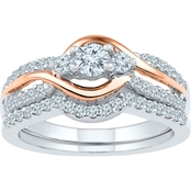 10K White And Rose Gold 3/4 CTW Bridal Ring