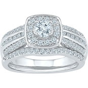 10K White Gold 1 CTW Bridal Ring