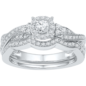 10K White Gold 5/8 CTW Bridal Set