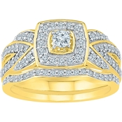 10K Yellow Gold 3/4 CTW Bridal Set