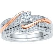 10K White And Rose Gold 1/2 CTW Bridal Ring