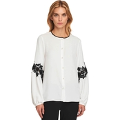 Karl Lagerfeld Button Down Top with Lace