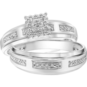 Sterling Silver Diamond Accent Bridal Set