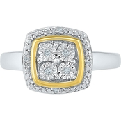 Sterling Silver and 10K Yellow Gold Diamond Accent Fashion Ring