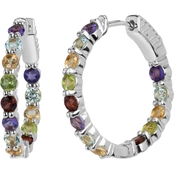 Rhodium Over Sterling Silver Multi Gemstone Endless Hoop Earrings
