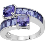 Rhodium Over Sterling Silver Round Light And Dark Amethyst Bypass Sides Ring